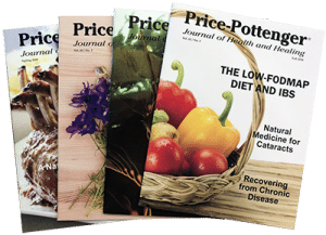 Photo of four journal issues with foods on the covers